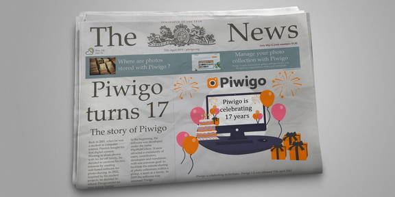 Piwigo 17th birthday on a newspaper